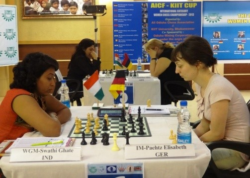 WGM Swathi Ghate of India, wondering what went wrong against IM Paehtz of Germany