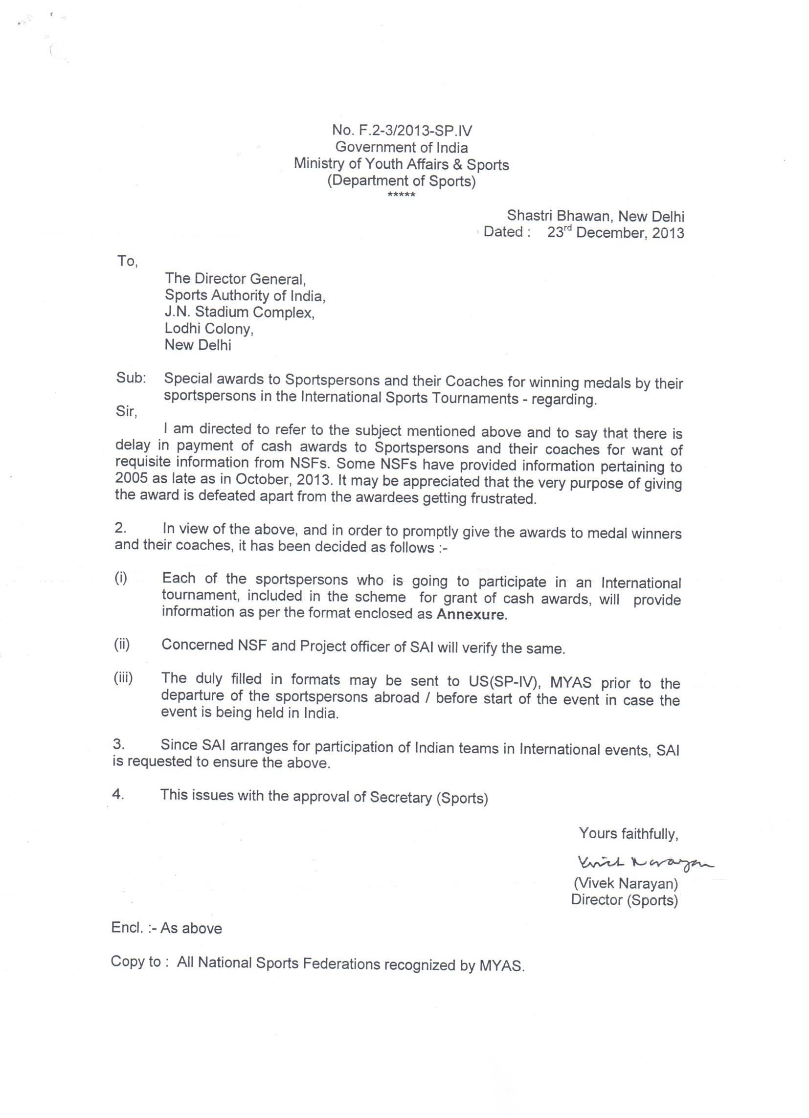 Special awards to sports persons and their coaches letter received special awards to sports persons and their coaches letter received from sai thecheapjerseys Choice Image