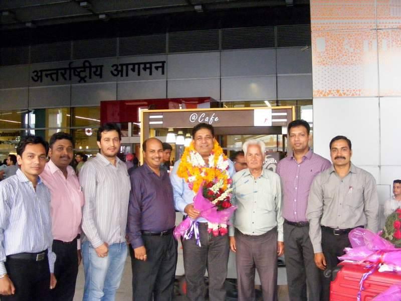 Reception of Bharat Singh at Delhi Airport