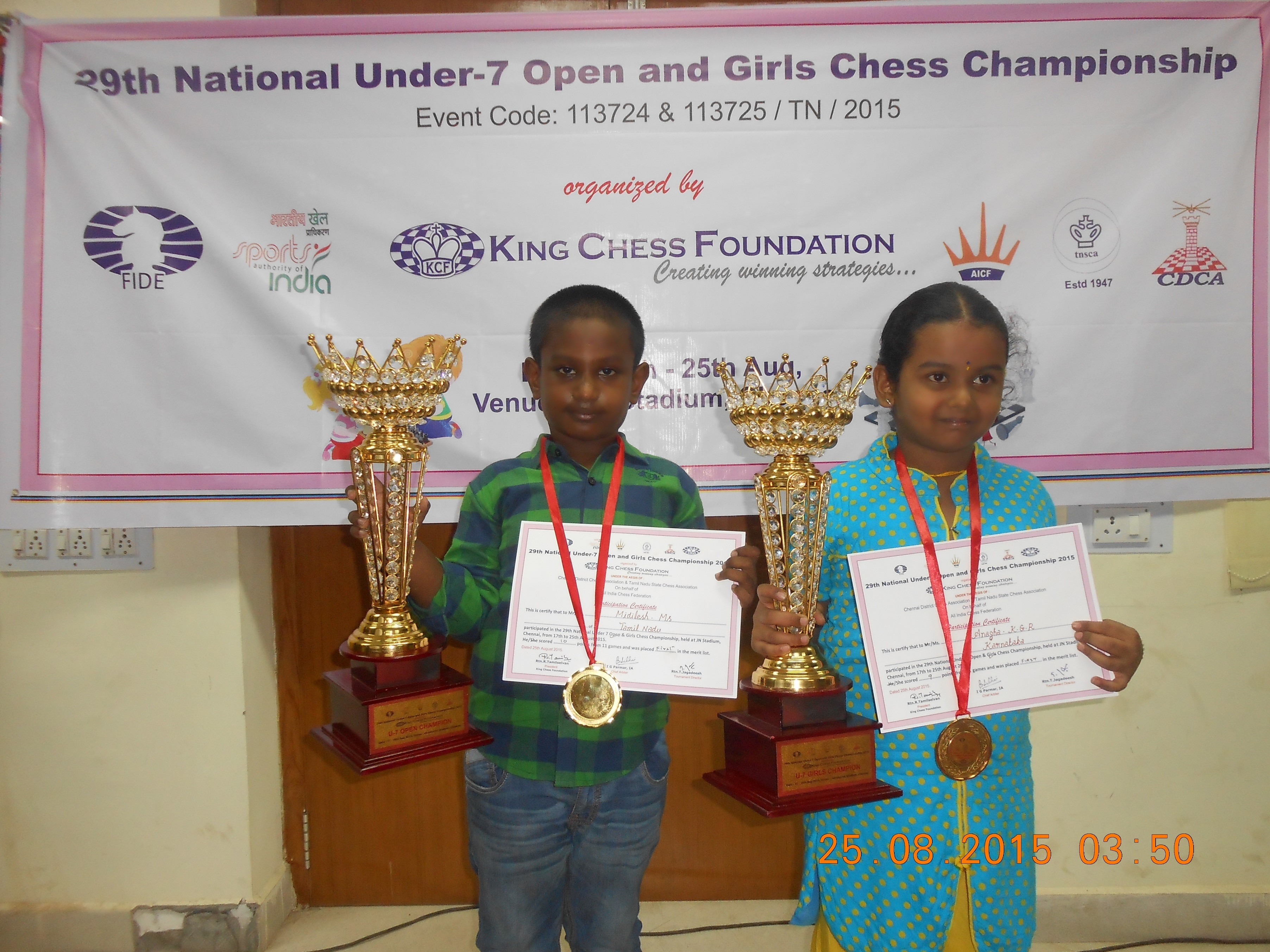 Midilesh, Anagha Win Under-7 Titles