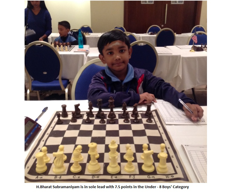 Bharath cruises ahead in U8 boys section with 7.5 points