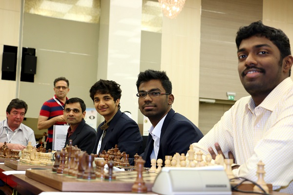 Indian team, from right GMs B. Adhiban, S.P. Sethuraman, Santosh Gujrathi Vidit and Krishnan Sasikiran